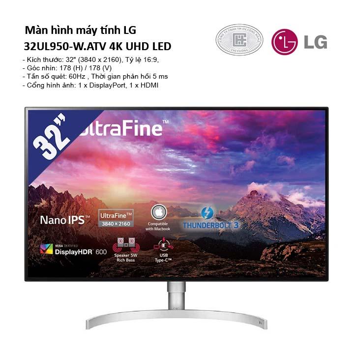Màn hình máy tính LG 32UL950-W.ATV (3840 x 2160/60Hz/5 ms/FreeSync) 4K UHD LED