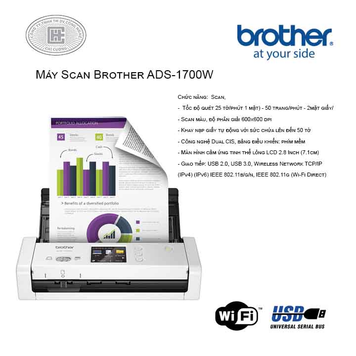 Máy Scan Brother ADS-1700W Wireless