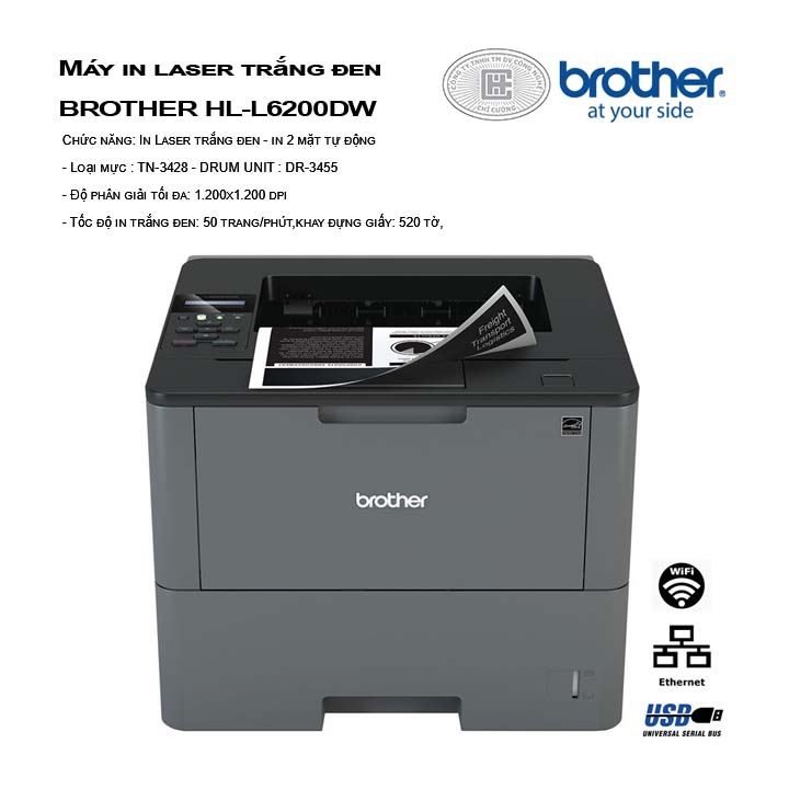 Máy in laser trắng đen BROTHER HL-L6200DW - Wifi