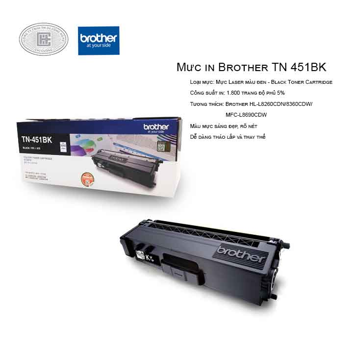 Mực in laser màu đen Brother TN-451BK (Cho Máy HLL-8260CDN, L8360CDW, MFC-8690CDW)