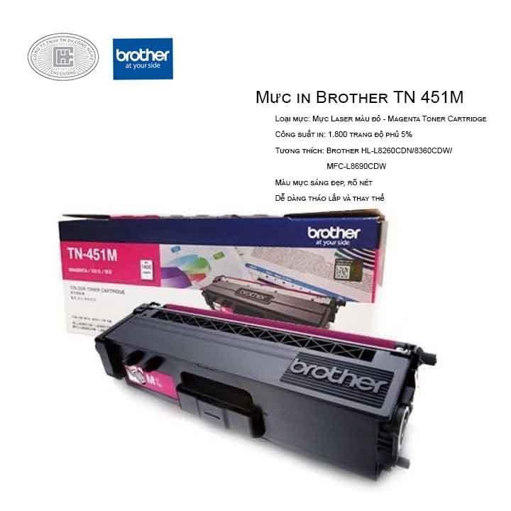 Mực in laser màu hồng Brother TN-451M (Cho Máy HLL-8260CDN, L8360CDW, MFC-8690CDW)