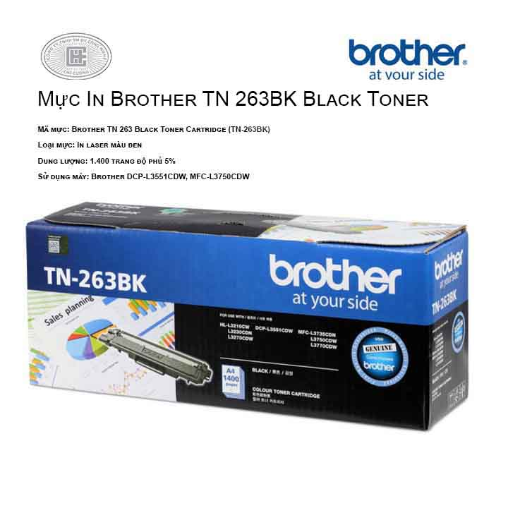 Mực in Brother TN 263BK Black Toner Cartridge ( cho máy  HL-L3230CDN, MFC-L3770CDW, MFC-L3750CDW, DCP-L3551CDW, HL-L3270CDW )