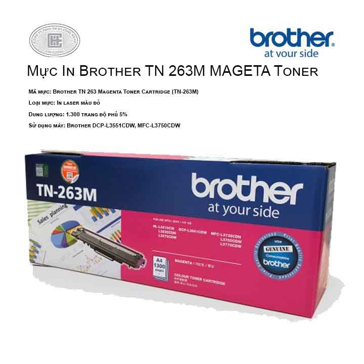 Mực in Brother TN 263 Mageta Toner Cartridge (TN-263M) ( cho máy HL-L3230CDN, MFC-L3770CDW, MFC-L3750CDW, DCP-L3551CDW, HL-L3270CDW )
