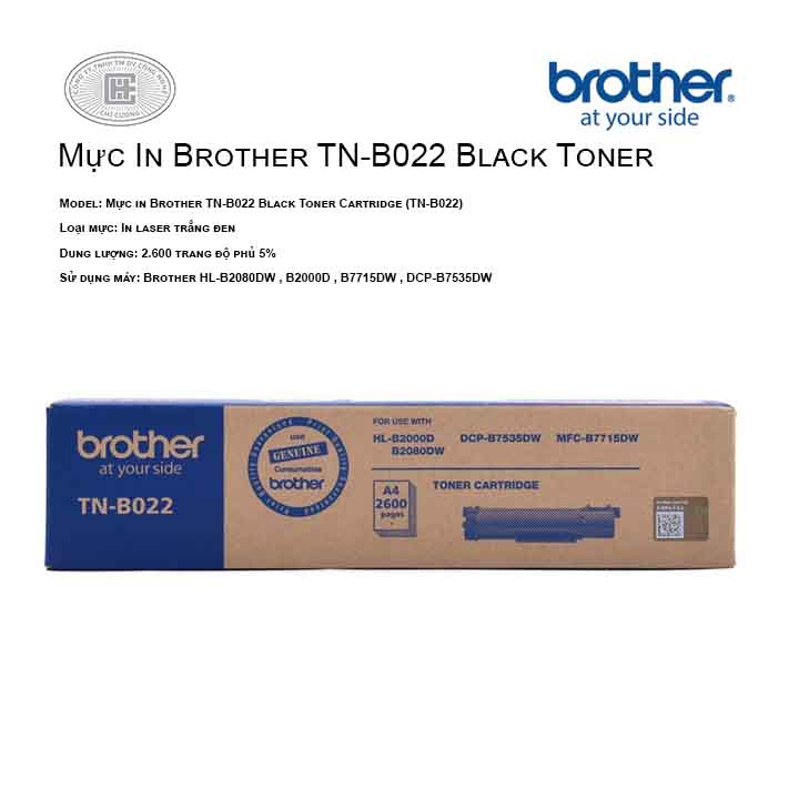 Mực in Brother TN-B022 Black Toner Cartridge ( cho máy HL HL-B2080DW, B2000D , B7535DW ,B7715DW )