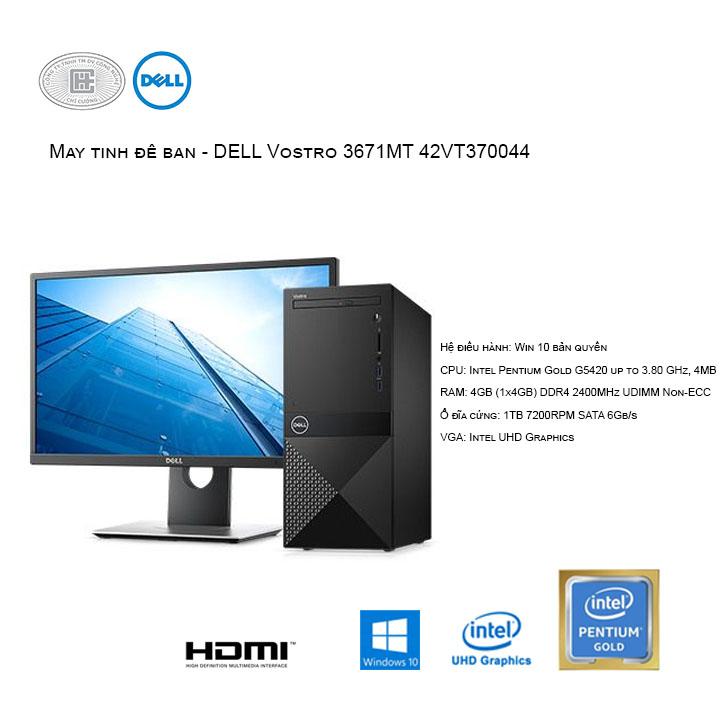 Máy tính để bàn - DELL Vostro 3671MT 42VT370044 (Intel  Pentium(TM) Gold  G5420/4GB/1TB HDD/Win10 Home 64-bit )