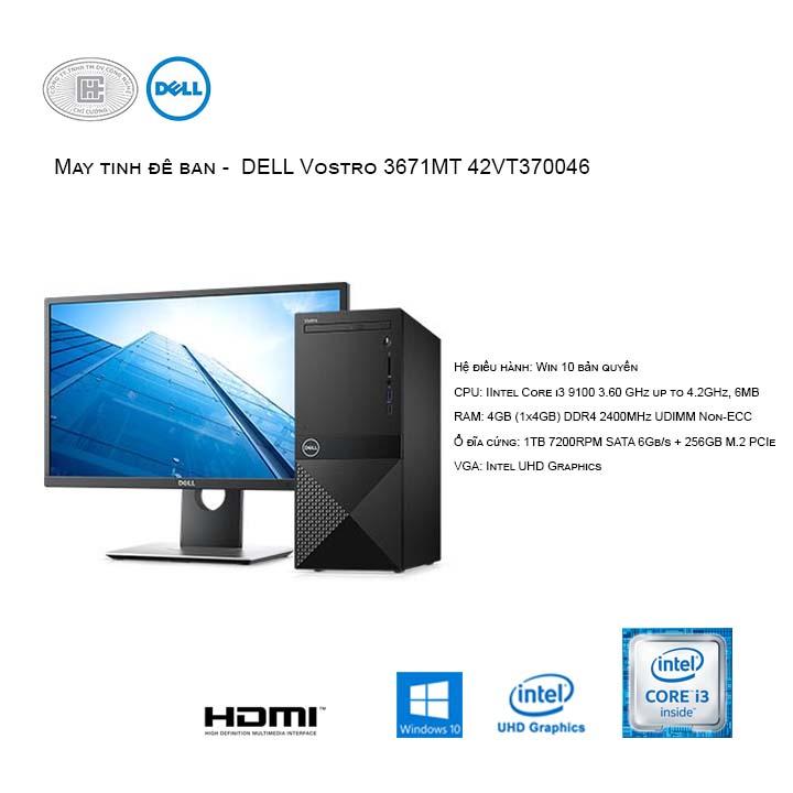 Máy tính để bàn -  DELL Vostro 3671MT 42VT370046 (Intel Core i3-9100/4GB/SSD256256GB M.2 PCIe NVMe + 1TB HDD/Windows 10 Home 64-bit - No DVD)