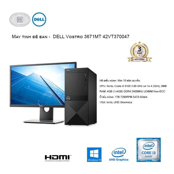Máy tính để bàn -  DELL Vostro 3671MT 42VT370047 (Intel Core i3-9100/4GB/1TB HDD/Windows 10 Home 64-bit)