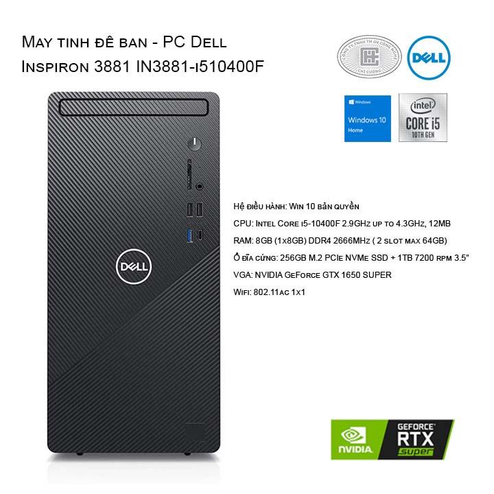 Máy tính để bàn - PC Dell Inspiron 3881 I510400F