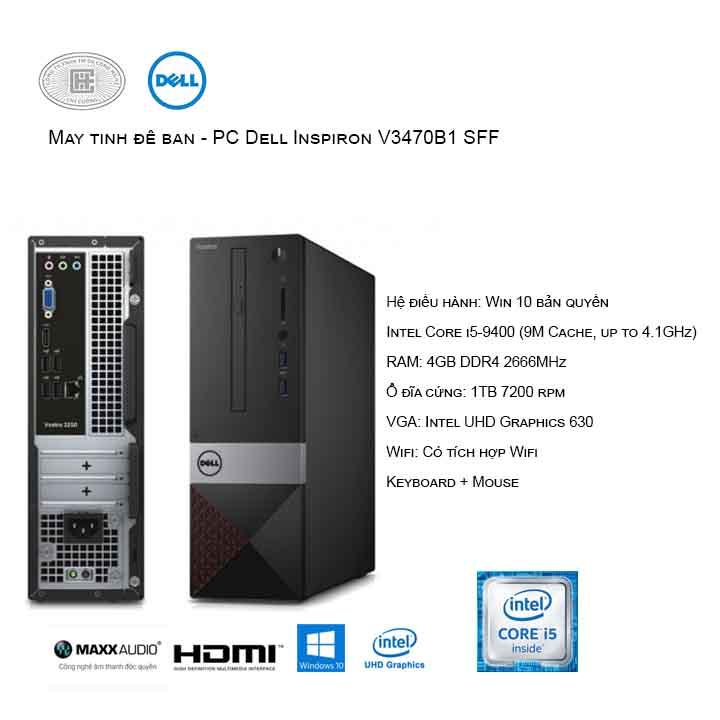 Máy tính để bàn - PC Dell Vostro V3470B1 SFF (i5-9400/4GB/1TB HDD/UHD 630/Win10)