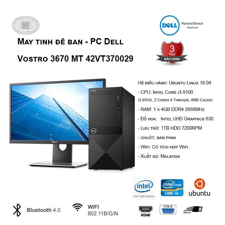 Máy tính để bàn - PC Dell Vostro 3670 MT 42VT370029 (i3-9100/4GB/1TB HDD/UHD 630/Linux)