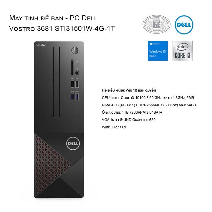 Máy tính để bàn - PC Dell Vostro 3888 3681 STI31501W-4G-1T NO-DVD