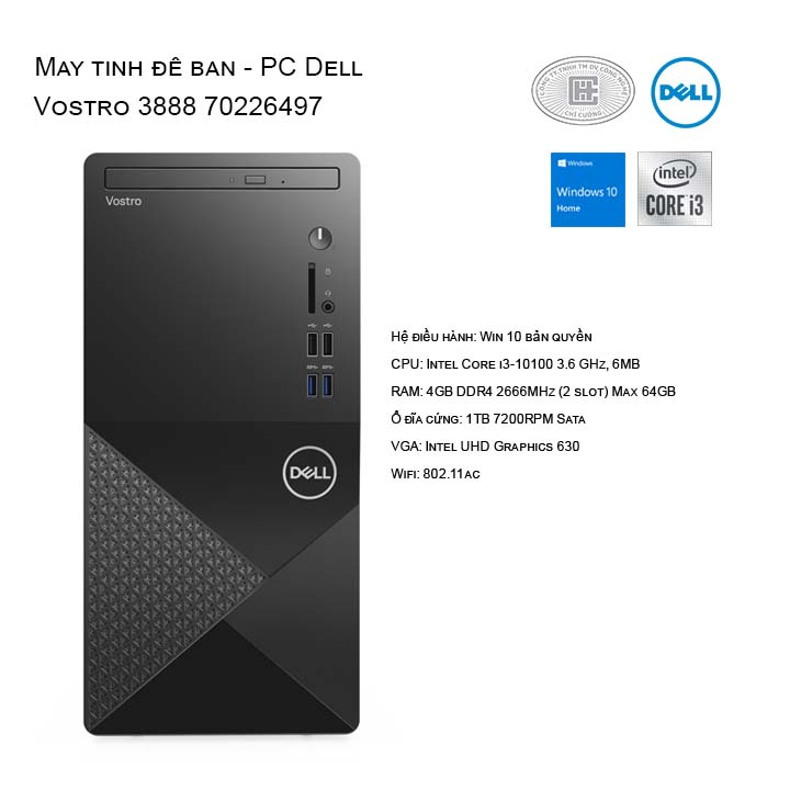 Máy tính để bàn - PC Dell Vostro 3888 70226497
