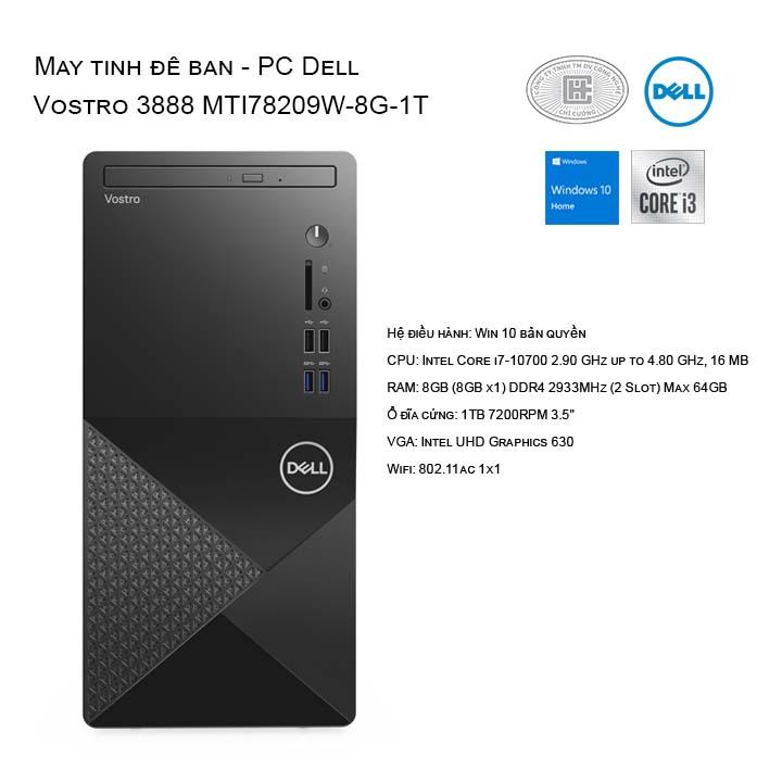 Máy tính để bàn - PC Dell Vostro 3888 MTI78209W-8G-1T