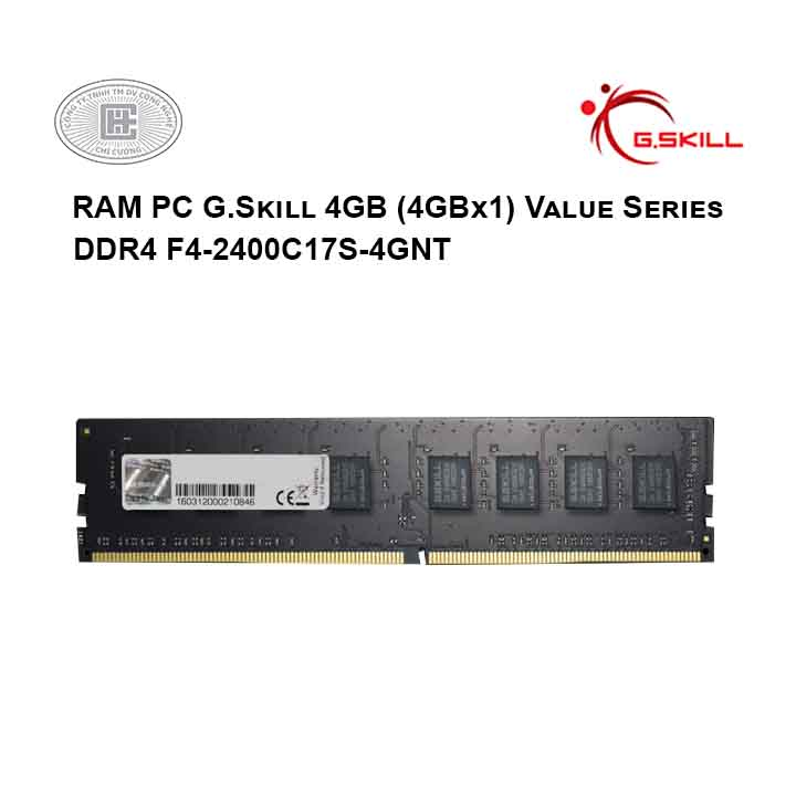 RAM PC G.Skill 4GB (4GBx1) Value Series DDR4 F4-2400C17S-4GNT