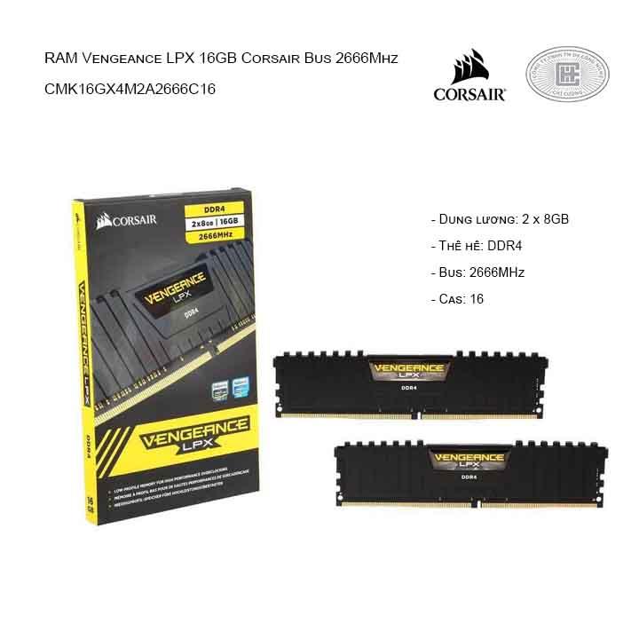 RAM desktop CORSAIR Vengeance LPX CMK16GX4M2A2666C16 16gb  (2x8GB) DDR4 2666MHz