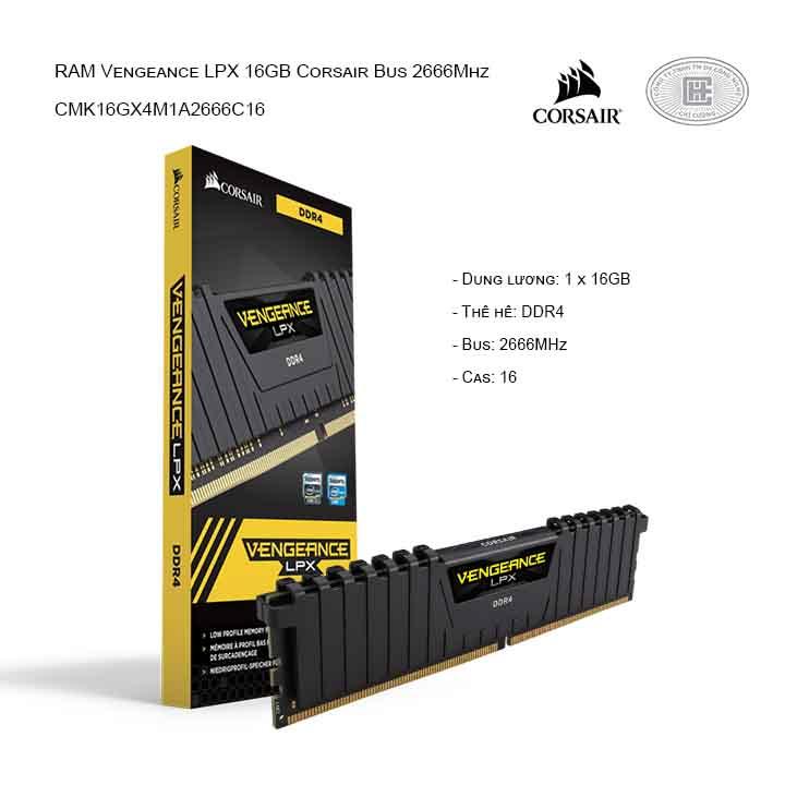 RAM desktop CORSAIR Vengeance LPX CMK16GX4M1A2666C16 (1x16GB) DDR4 2666MHz
