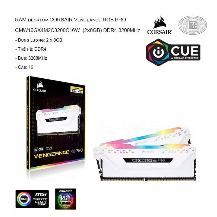 RAM desktop CORSAIR Vengeance RGB Pro CMW16GX4M2C3200C16W (2x8GB) DDR4 3200MHz - White Edition