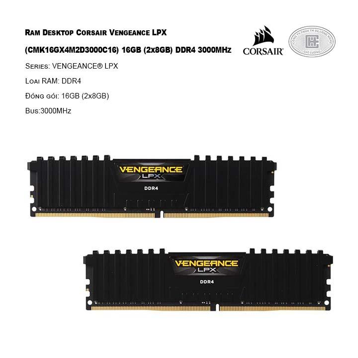 RAM desktop Corsair Vengeance LPX (CMK16GX4M2D3000C16) 16GB (2x8GB) DDR4 3000MHz