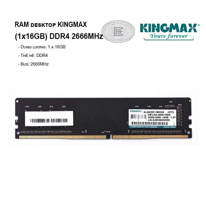 RAM PC KINGMAX (1x16GB) DDR4 2666MHz