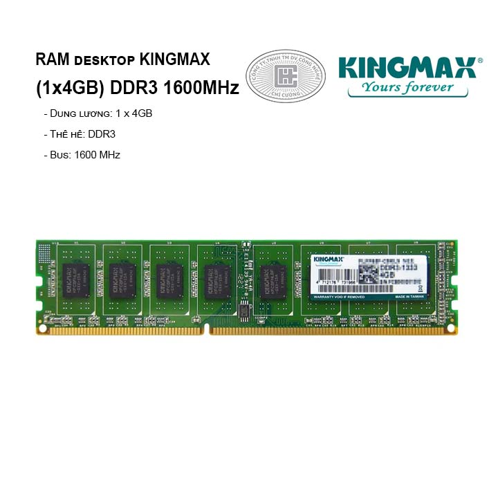 RAM PC KINGMAX 4GB Bus 1600MHz