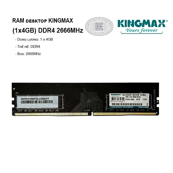 RAM PC KINGMAX (1x4GB) DDR4 2666MHz