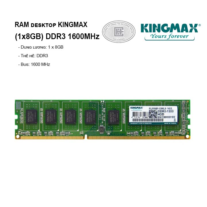 RAM PC KINGMAX 8GB Bus 1600 DDR3
