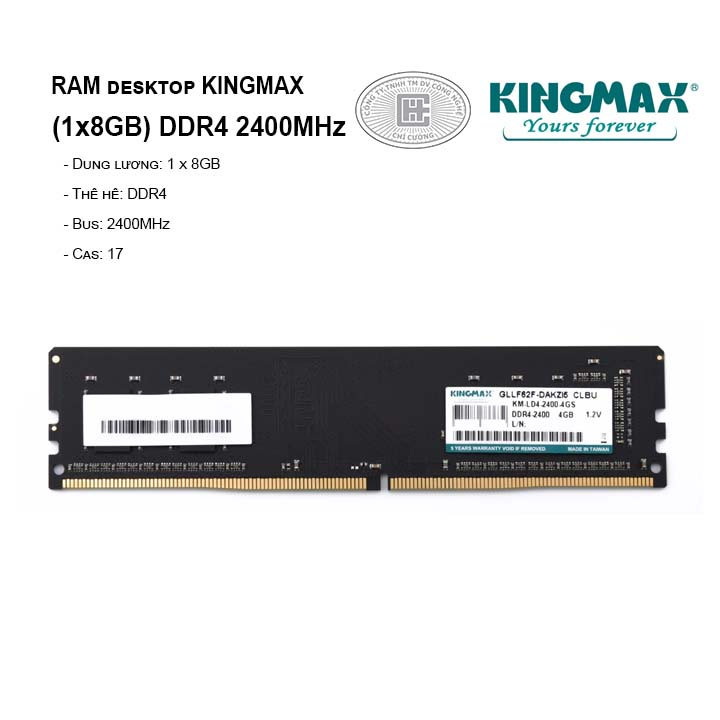 RAM PC KINGMAX 8GB Bus 2400MHz