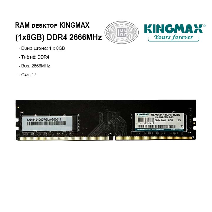 RAM PC KINGMAX 8GB Bus 2666MHz