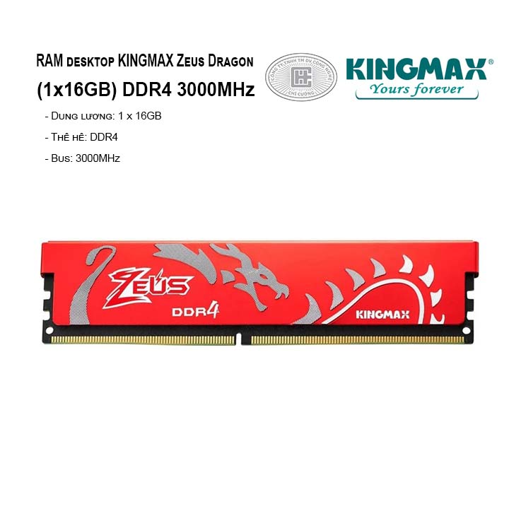 RAM PC KINGMAX Zeus Dragon 16GB Bus 3000MHz