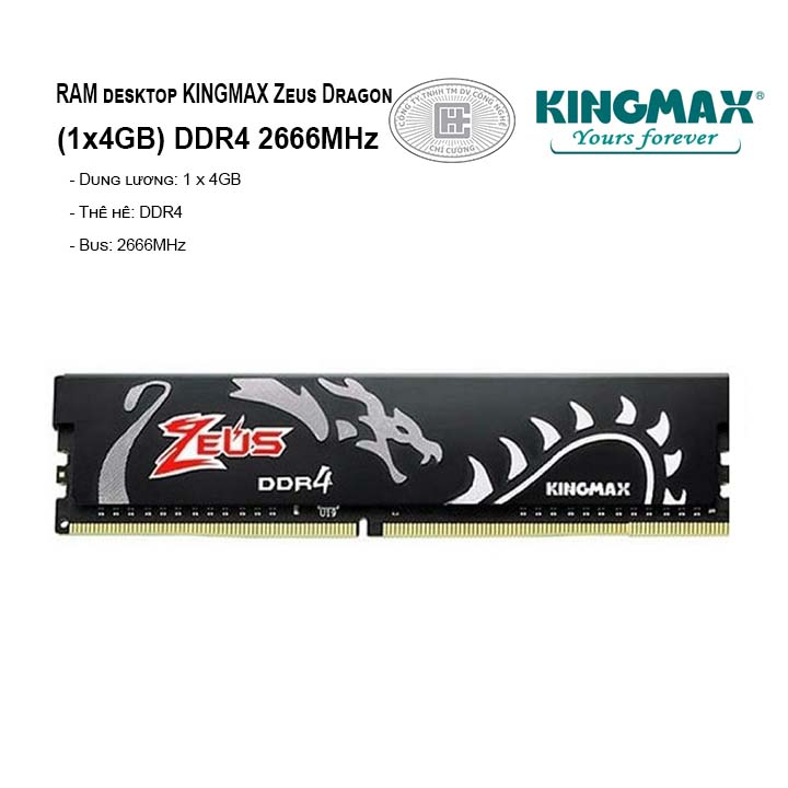 RAM PC KINGMAX Zeus Dragon4GB Bus 2666MHz