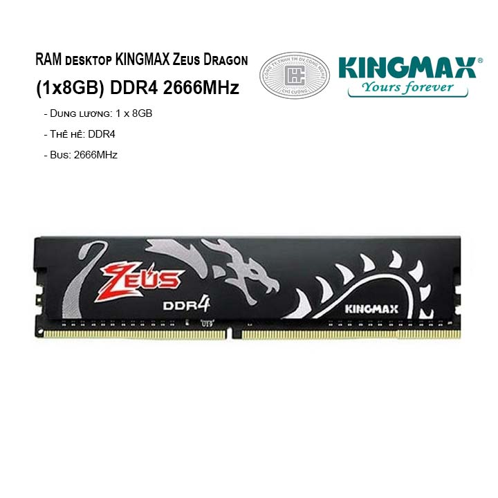 RAM PC KINGMAX Zeus Dragon 8GB Bus 2666MHz