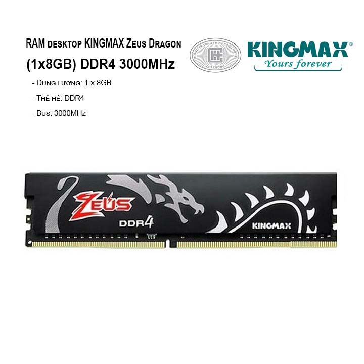 RAM PC KINGMAX Zeus Dragon 8GB Bus 3000MHz