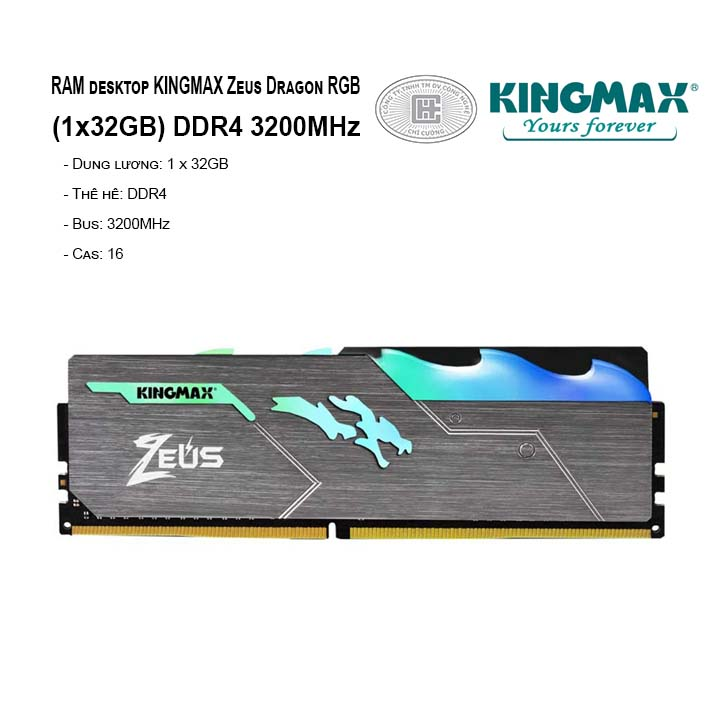 RAM PC KINGMAX Zeus Dragon RGB 16GB Bus 3200MHz