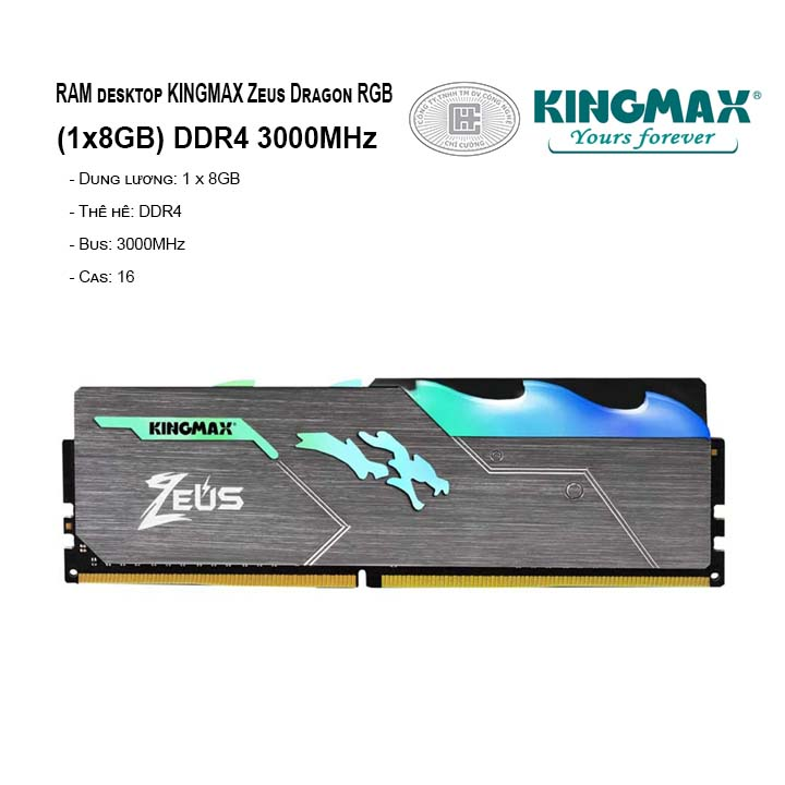 RAM PC KINGMAX Zeus Dragon RGB 8GB Bus 3000MHz
