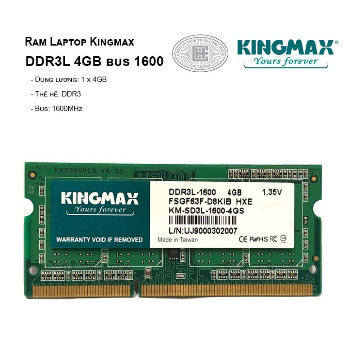 Ram Laptop Kingmax DDR3L 4GB bus 1600