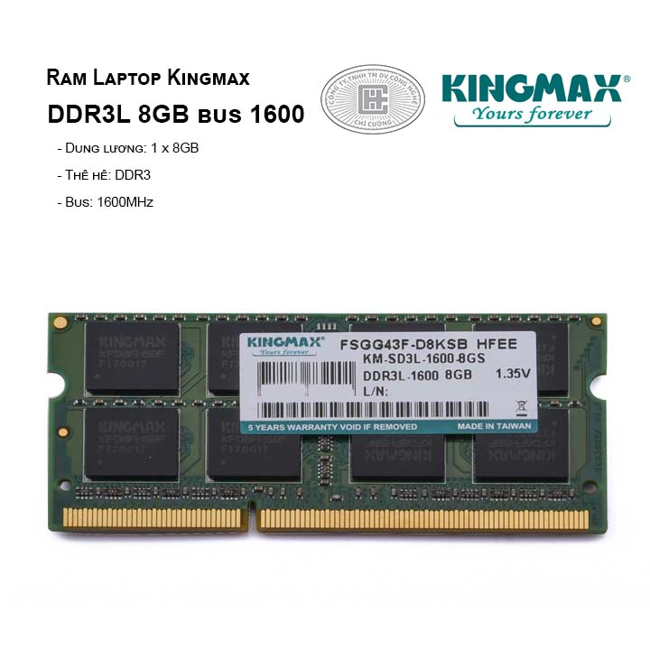 Ram Laptop Kingmax DDR3L 8GB bus 1600