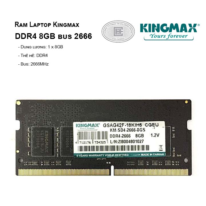 RAM Laptop KINGMAX 8GB BUS 2666MHz