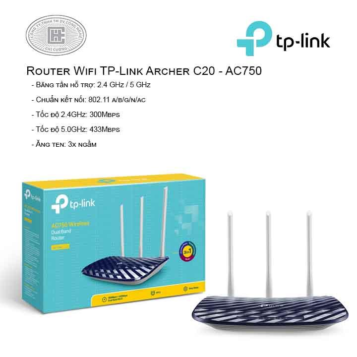 Router Wi-Fi Băng Tần Kép AC750 Archer C20