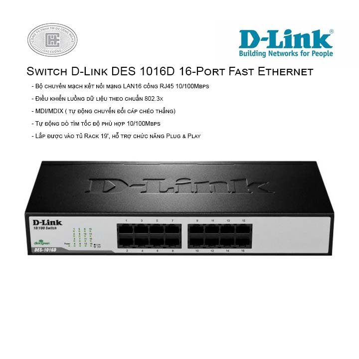 Switch D-Link DES 1016D 16‑Port Fast Ethernet  (Vỏ sắt)