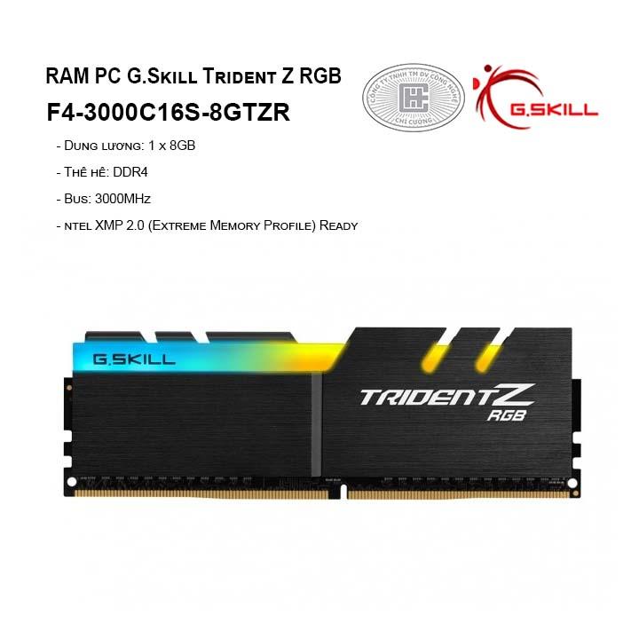 RAM G.Skill TRIDENT Z RGB - 8GB (8GBx1) DDR4 3000GHz-F4-3000C16S-8GTZR