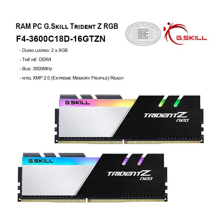 RAM G.Skill TRIDENT Z Neo - 16GB (8GBx2) DDR4 3600GHz F4-3600C18D-16GTZN