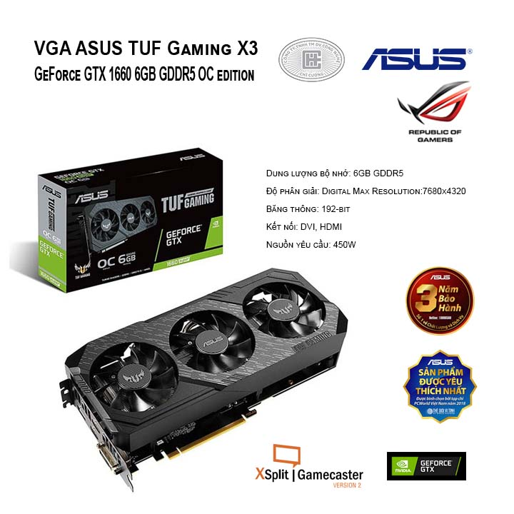VGA ASUS TUF Gaming X3 GeForce GTX 1660 6GB GDDR5 OC edition (TUF3-GTX1660-O6G-GAMING)