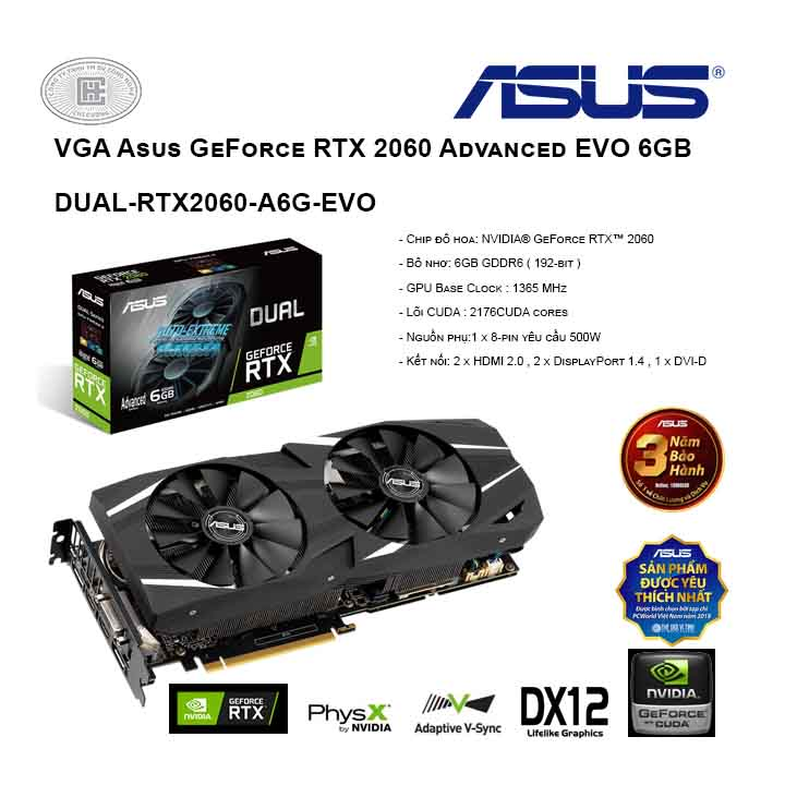 VGA VGA Asus GeForce RTX 2060 Advanced EVO 6GB (DUAL-RTX2060-A6G-EVO)