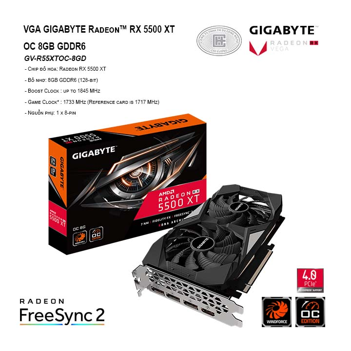 VGA GIGABYTE Radeon™ RX 5500 XT OC 8GB GDDR6