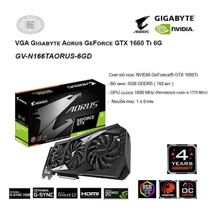 Card màn hình/ VGA Gigabyte Aorus GeForce GTX 1660 Ti 6G (GV-N166TAORUS-6GD)
