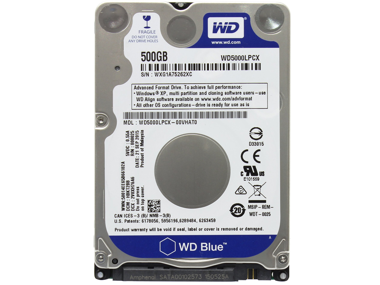 HDD Laptop WD 500GB BLUE -  WD5000LPCX