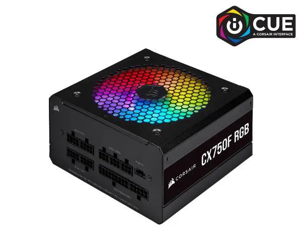 Nguồn máy tính Corsair  CX750F RGB Black 80 Plus Bronze - Full Modul - NEW (CP-9020218-NA)