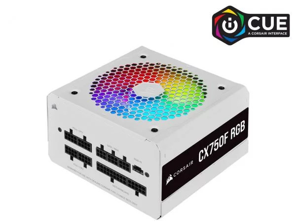 Nguồn máy tính Corsair  CX750F RGB White 80 Plus Bronze - Full Modul - NEW