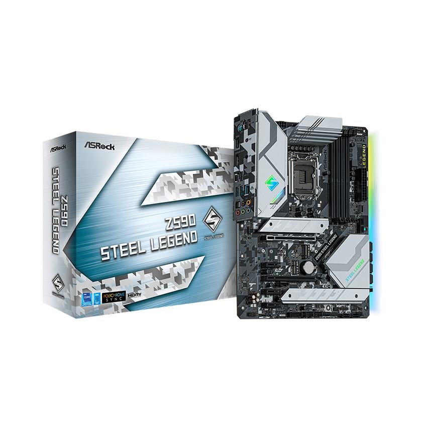 Mainboard ASROCK Z590 STEEL LEGEND (Intel Z590, Socket 1200, ATX, 4 khe Ram DDR4)
