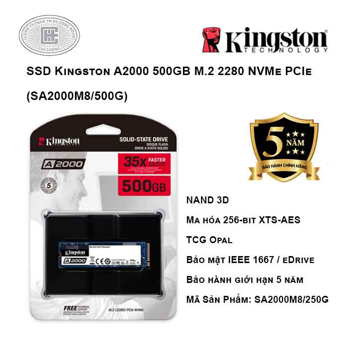 Ổ cứng SSD Kingston A2000 500GB M.2 2280 NVMe PCIe (SA2000M8/500G)